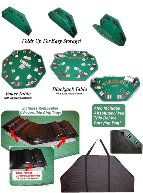 Poker & Blackjack High Grade Table Top with Case - Thumbnail 0