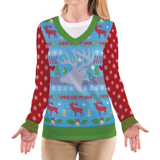 'Check Out My Rack' Women's Ugly Sweater T-Shirt
