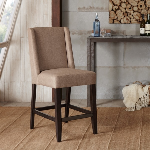 Shop Madison Park Victor Taupe Wing Counter Stool 19 Quot W X