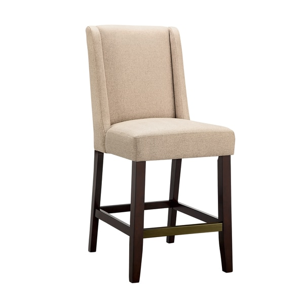 Tribecca Home Tufted Button Back Peat Microfiber Side: Madison Park Victor Wing Counter Stool