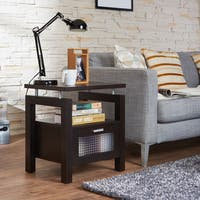 Furniture of America Bauston Espresso Storage End Table