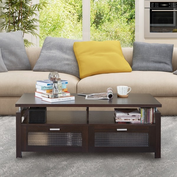 Furniture of America Posa Modern Espresso Storage Coffee Table