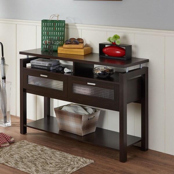 furniture of america bauston modern espresso storage sofa table