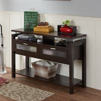 Furniture of America Bauston Espresso Modern Storage Sofa Table
