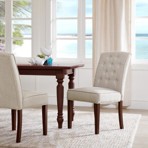 """Madison Park Misha Tan Tufted Dining Chair (Set of 2) - 19.75""""w x 25.25""""d x 37.25""""h (2)"""