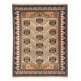 Hand-knotted Wool Ivory Traditional Oriental Khorasan Rug (5'2 x 6'9)