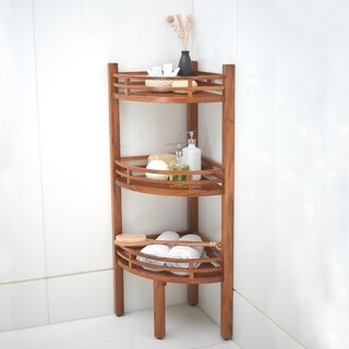 Cambridge Casual Spa Medium Brown Teak Corner Shelf