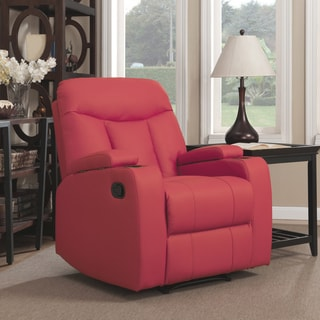ProLounger Tuff Stuff Red Synthetic Leather Wall Hugger Storage Arm Recliner