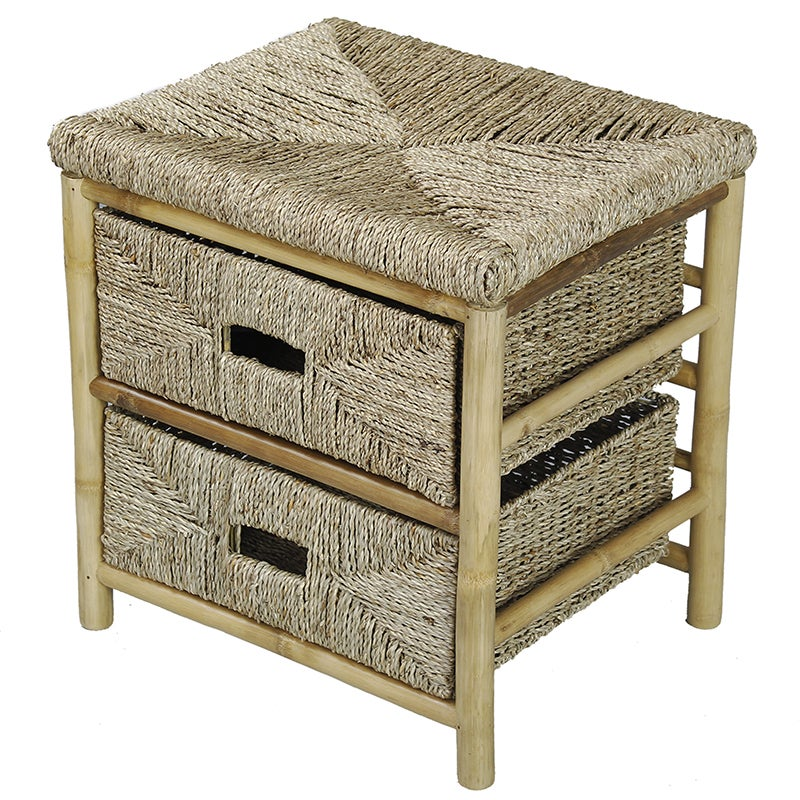 2-drawer Bamboo Cabinet, Beige Off-White