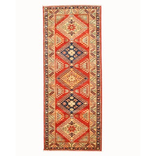 Hand-knotted Wool Red Traditional Oriental Super Kazak Rug (2'9 x 7')