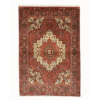 Hand-knotted Wool Rust Traditional Oriental Bidjar Rug (3'7 x 5'4)