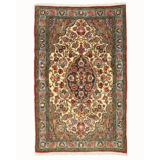 EORC Hand Knotted Wool Ivory Qum Rug (3'4 x 5'2)