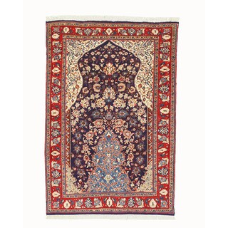 EORC Hand Knotted Wool Navy Sarouk Rug (3'5 x 5'3)