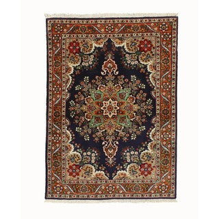 Hand-knotted Wool Navy Traditional Oriental Tabriz Rug (3'6 x 4'9) - 3'6 x 4'9