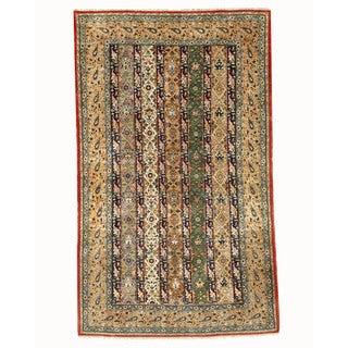 Hand-knotted Wool & Silk Traditional Oriental Shawl Qum Rug (5'3 x 8'9) - Multi