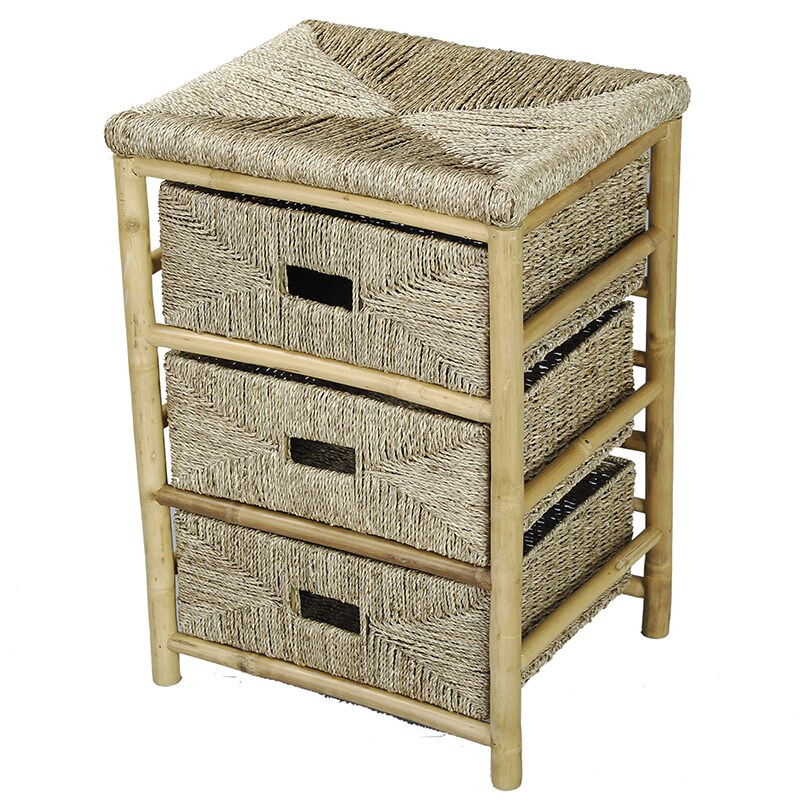 3-drawer Bamboo Cabinet, Beige Off-White