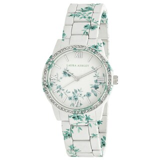 Laura Ashley Bridal Lace Print Printed Watch with Crystals Around Bezel