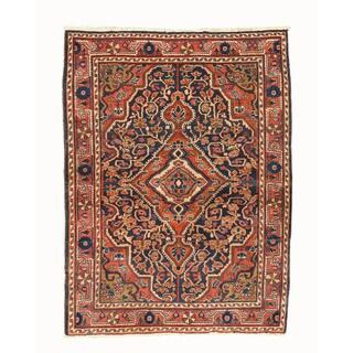 Hand-knotted Wool Navy Traditional Oriental Bidjar Rug - 3'7 x 4'10