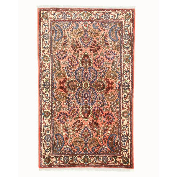 Shop Hand-knotted Wool Pink Traditional Oriental Sarouk