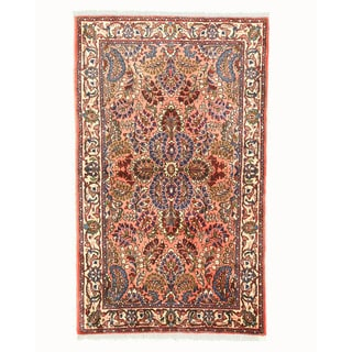 EORC Hand Knotted Wool Pink Sarouk Rug (3'2 x 4'5)