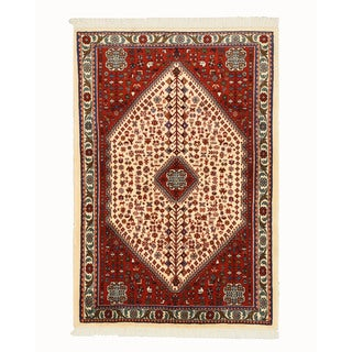 Hand-knotted Wool Ivory Traditional Oriental Abadeh Rug (3'5 x 5'1)