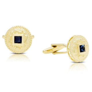 Gravity Gold-Plated Simulated Sapphire Etruscan Round Cufflinks