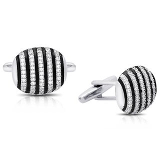 Gravity Silver Plated Cubic Zirconia and Enamel Striped Cufflinks