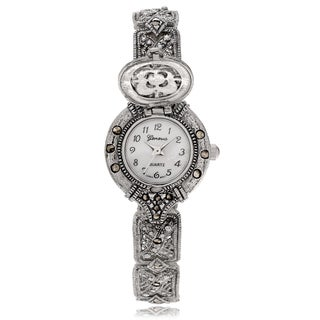 Geneva Platinum Women's Marcasite Round Face Locket Bracelet Watch