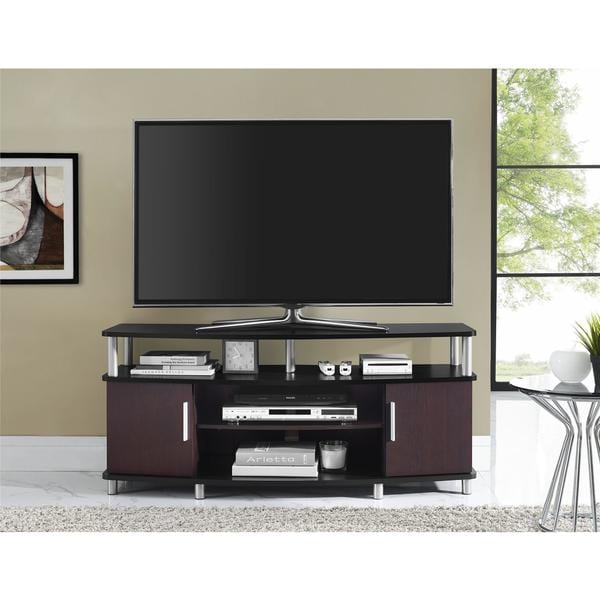 ameriwood home carson cherry black 50inch tv stand
