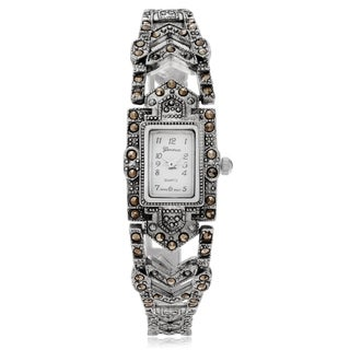 Geneva Platinum Women's Marcasite Rectangle Face Link Watch