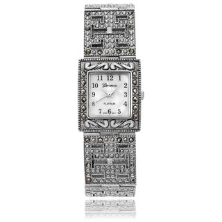 Geneva Platinum Women's Marcasite Square Face Link Watch