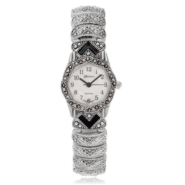 Shop Geneva Platinum Women's Marcasite Antique Bracelet ...