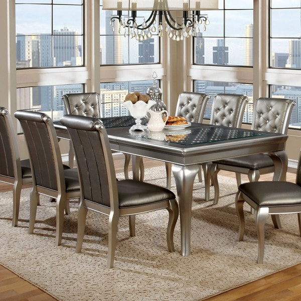 Furniture of america mora contemporary champagne 84 inch for 108 inch dining table