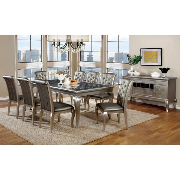 furniture of america mora contemporary 9 piece champagne contemporary dining room sets with china cabinet 1192