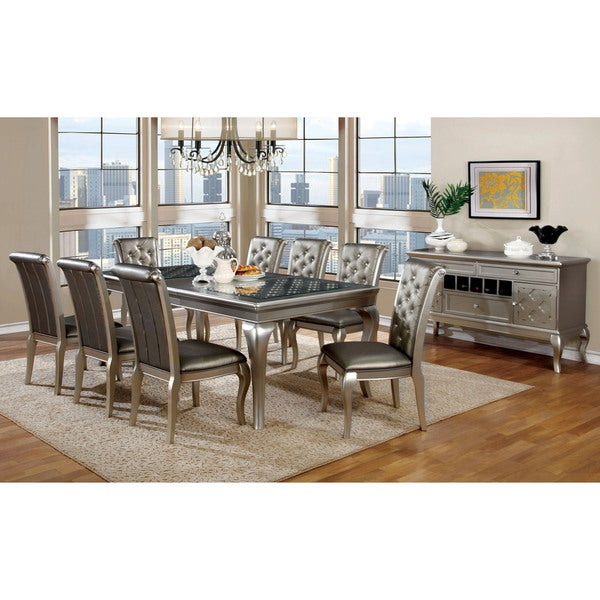 Furniture of America Tily Gold 9-piece Dining Table with Leaf Set. Opens flyout.