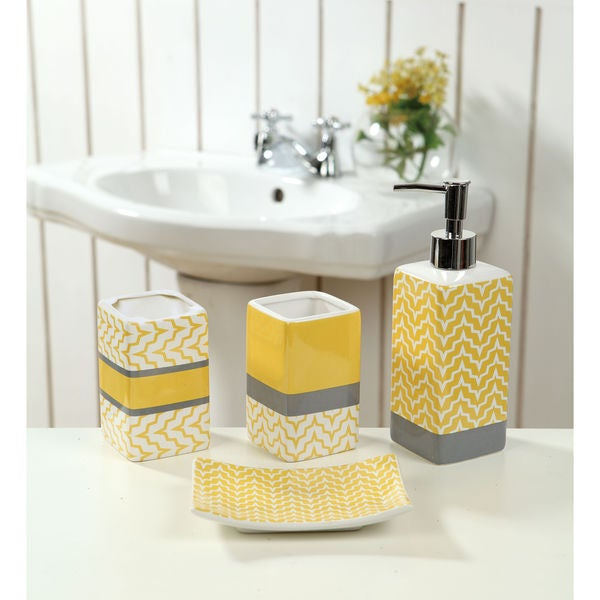 Great Small Corner Mirror Bathroom Cabinet Tiny Bathroom Suppliers London Ontario Shaped Hollywood Glam Bathroom Decor Master Bath Remodel Plans Young Clean The Bathroom With Vinegar And Baking Soda BrownSmall Bathroom Ideas With Shower And Tub 4 Piece Ceramic Yellow Chevron Bath Set   18079125   Overstock.com ..