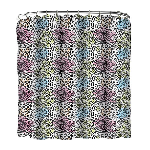 13-piece Animal Printed Peva Shower Curtain with Roller Hooks
