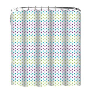 13-piece Gradient Dots Printed Peva Shower Curtain with Roller Hooks