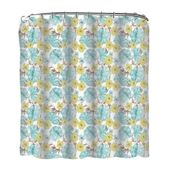 13-piece Petal Dot Printed Peva Shower Curtain with Roller Hooks