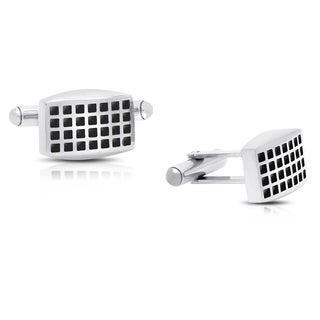 Gemeni Stainless Steel and Black Enamel Squares Cufflinks