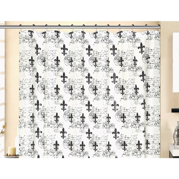 13-piece Fluer Di Lis Printed Peva Shower Curtain with Roller Hooks