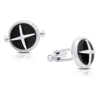 "Gravity Stainless Steel And Black Enamel ""X"" Cufflinks"