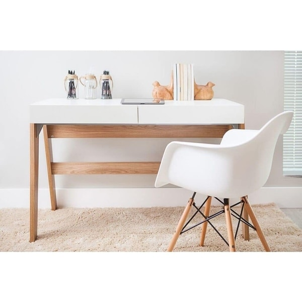 Modern Office Desk With 2 Drawers   Hanover/Off White
