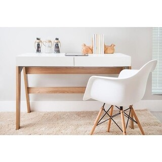 Modern Office Desk with 2 Drawers - Hanover/Off White