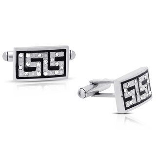 Gemeni Stainless Steel Crystal and Black Enamel Greek Key Cuff Links