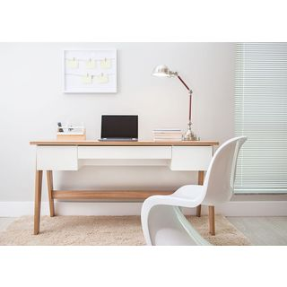 TrendLine Hanover/ Off-white 3-drawer Home Office Desk