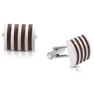 Gravity Stainless Steel and Brown Enamel Striped Cufflinks