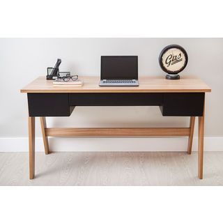 Modern Office Desk with 3 Drawers - Hanover/Black
