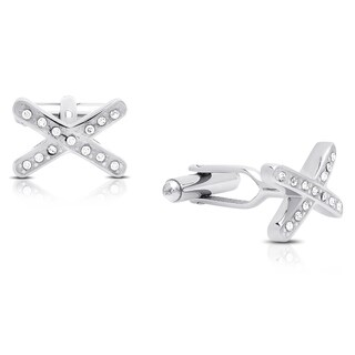 "Gravity Men's ""X"" Stainless Steel and Crystal Cuff-links"