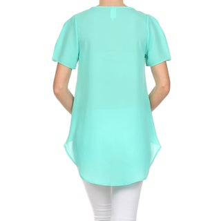 Moa Collection Women's Wrapped Front Loose Fit Blouse